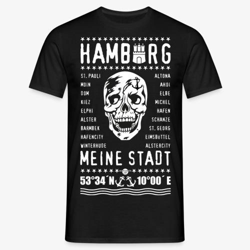 84 Skull Totenkopf Hamburg MEINE STADT Stadtteile - Männer T-Shirt
