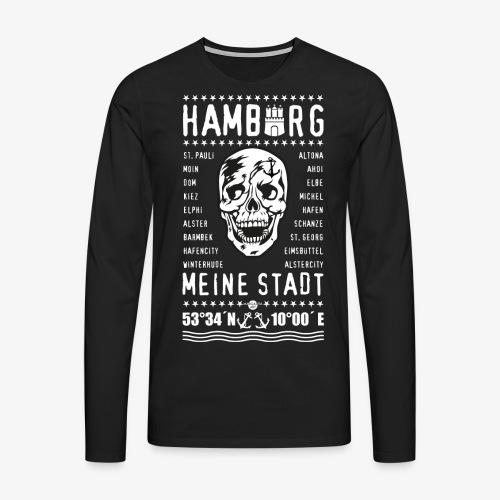 84 Skull Totenkopf Hamburg MEINE STADT Stadtteile - Männer Premium Langarmshirt