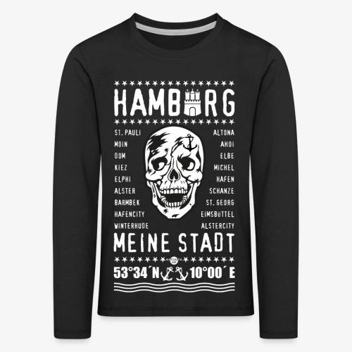 84 Skull Totenkopf Hamburg MEINE STADT Stadtteile - Kinder Premium Langarmshirt