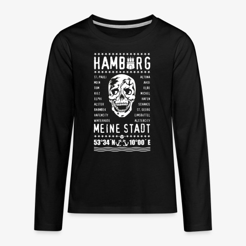 84 Skull Totenkopf Hamburg MEINE STADT Stadtteile - Teenager Premium Langarmshirt