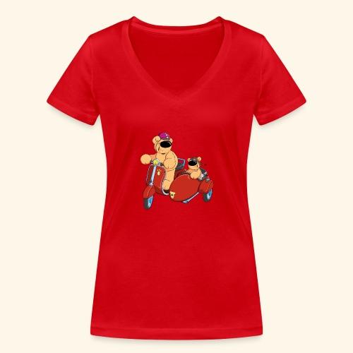 Zwei Bären fahren Roller - Frauen Bio-T-Shirt mit V-Ausschnitt von Stanley & Stella