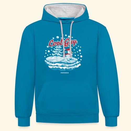 Apres Ski T Shirt cooler Schneemann beim Wintersport - Kontrast-Hoodie