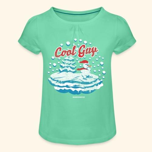 Apres Ski T Shirt cooler Schneemann beim Wintersport - Mädchen-T-Shirt mit Raffungen