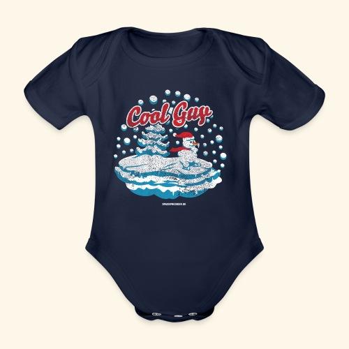 Apres Ski T Shirt cooler Schneemann beim Wintersport - Baby Bio-Kurzarm-Body