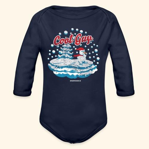 Apres Ski T Shirt cooler Schneemann beim Wintersport - Baby Bio-Langarm-Body