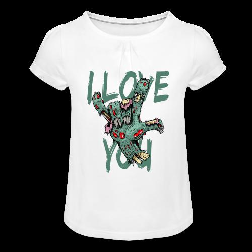 I love You Zombie - Mädchen-T-Shirt mit Raffungen