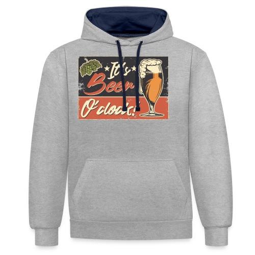 It´s Bier O´Clock - Kontrast-Hoodie