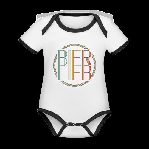 Bierlieb Bier Liebe Retro - Baby Bio-Kurzarm-Kontrastbody