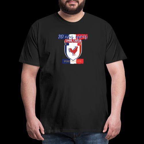 T-shirt Premium Homme - Le coq est le roi de la basse-cour et a une attitude fière.Il affirme sa présence tous les matins en accueillant le jour de son chant. Être fier comme un coq signifie donc qu'on affirme sa supériorité