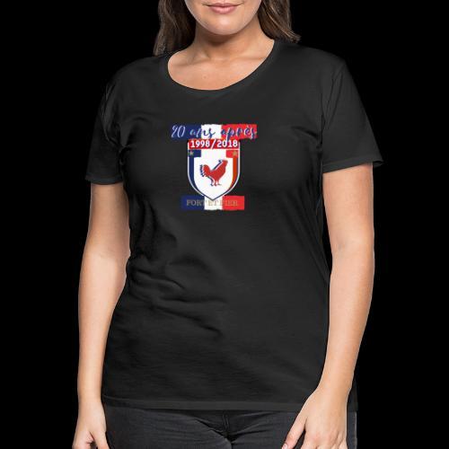 T-shirt Premium Femme - Le coq est le roi de la basse-cour et a une attitude fière.Il affirme sa présence tous les matins en accueillant le jour de son chant. Être fier comme un coq signifie donc qu'on affirme sa supériorité