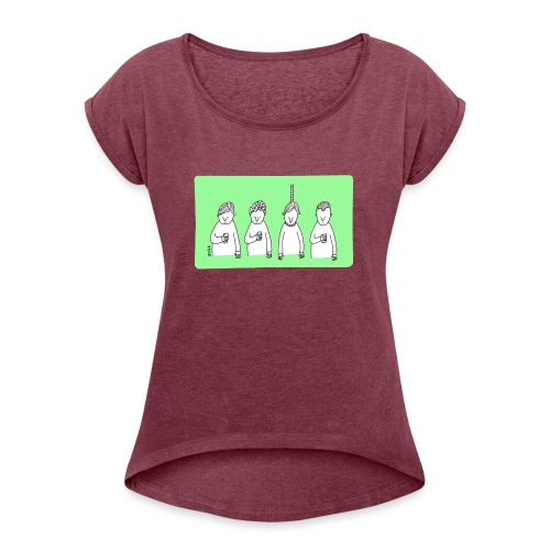 Handy (mit Text) - Frauen T-Shirt mit gerollten Ärmeln
