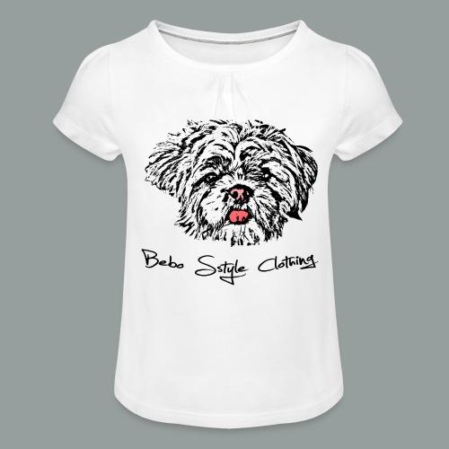 Shih Tzu - Mädchen-T-Shirt mit Raffungen