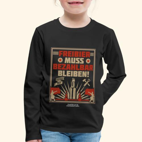 Bier T Shirt Freibier | Geschenkidee Biertrinker - Kinder Premium Langarmshirt