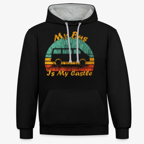 My Bus Is My Castle (Washed) - Kontrast-Hoodie