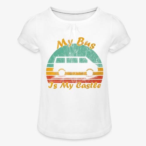 My Bus Is My Castle (Washed) - Mädchen-T-Shirt mit Raffungen