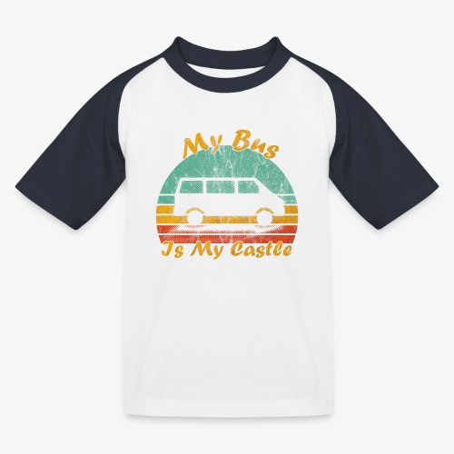 My Bus Is My Castle (Washed) - Kinder Baseball T-Shirt