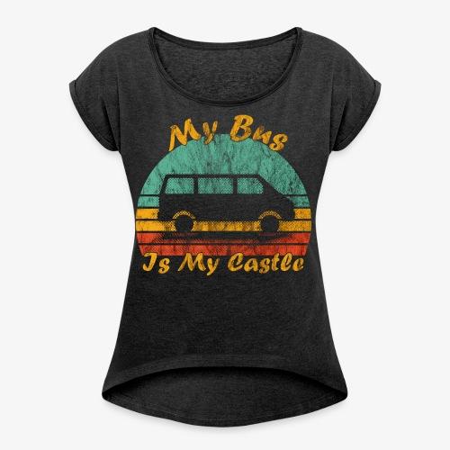 My Bus Is My Castle (Washed) - Frauen T-Shirt mit gerollten Ärmeln