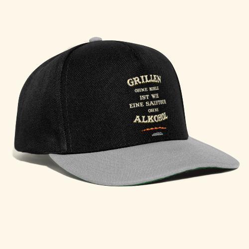 Grill T Shirt Spruch Grillen ohne Kohle ist wie eine Sauftour - Snapback Cap