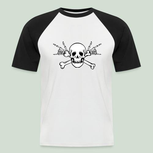 Deaf Skull with ILY Handsign - Männer Baseball-T-Shirt