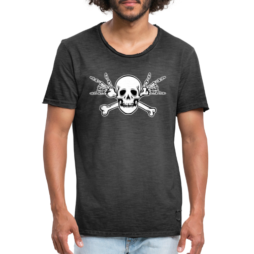 Deaf Skull with ILY Handsign - Männer Vintage T-Shirt