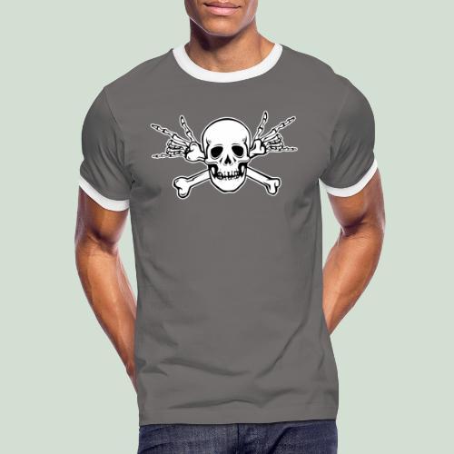Deaf Skull with ILY Handsign - Männer Kontrast-T-Shirt