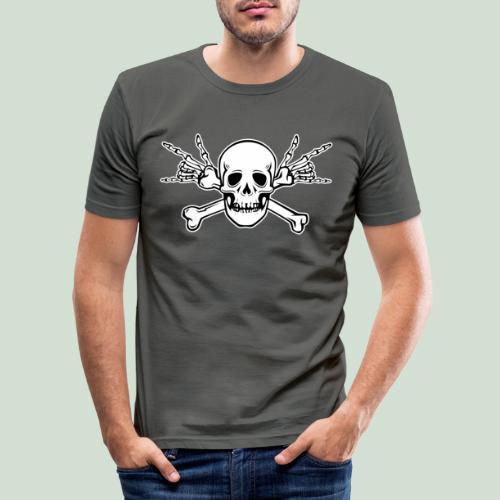Deaf Skull with ILY Handsign - Männer Slim Fit T-Shirt