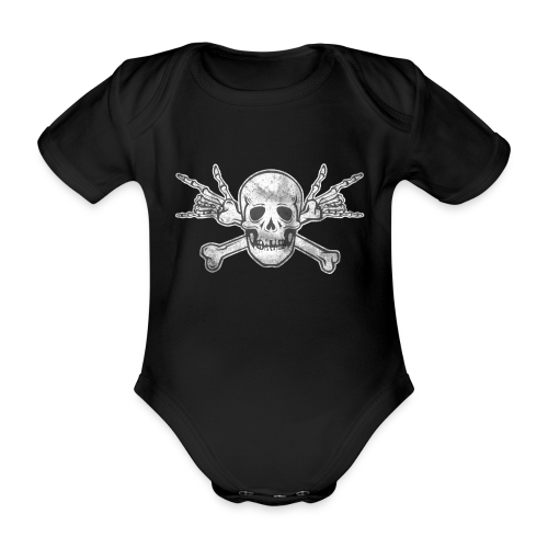 Deaf Skull with ILY Handsign Vintage - Baby Bio-Kurzarm-Body
