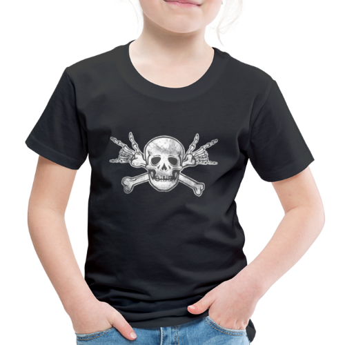 Deaf Skull with ILY Handsign Vintage - Kinder Premium T-Shirt