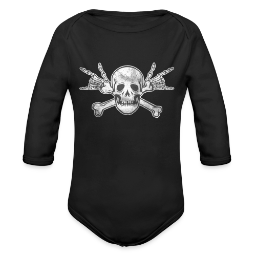 Deaf Skull with ILY Handsign Vintage - Baby Bio-Langarm-Body