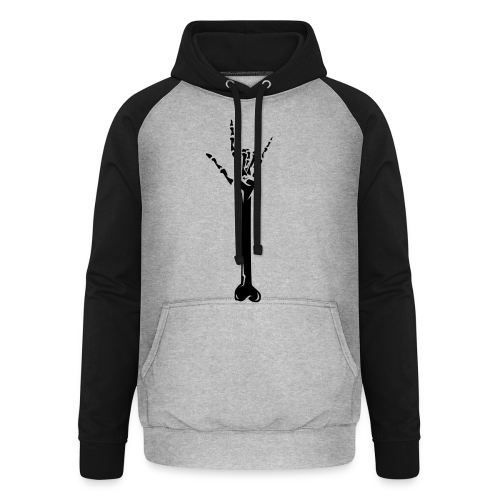 Deaf Skull with ILY Handsign GOLD - Unisex Baseball Hoodie