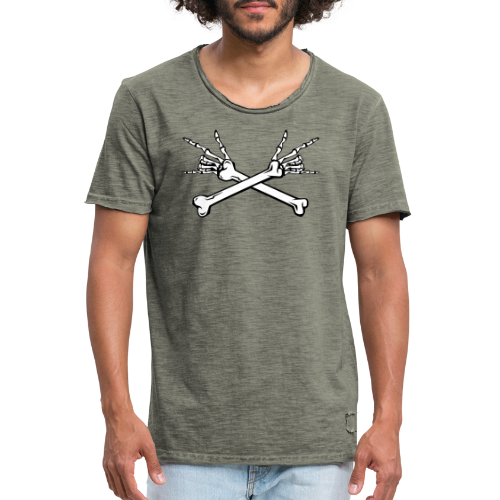 Deaf Skull with ILY Handsign GOLD - Männer Vintage T-Shirt