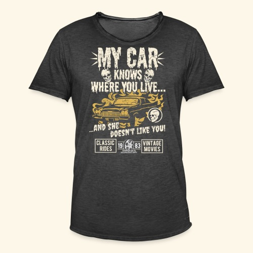 Horror Film Fan T Shirt My Car Knows - Männer Vintage T-Shirt