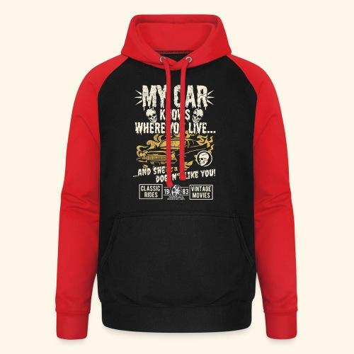Horror Film Fan T Shirt My Car Knows - Unisex Baseball Hoodie