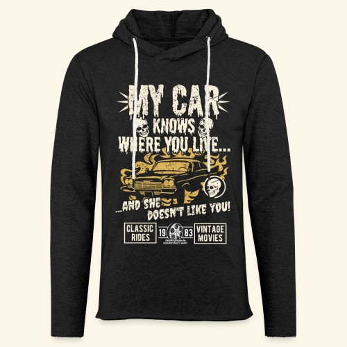 Horror Film Fan T Shirt My Car Knows - Leichtes Kapuzensweatshirt Unisex