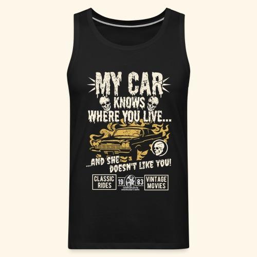 Horror Film Fan T Shirt My Car Knows - Männer Premium Tank Top