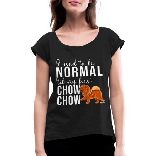 Naisten T-paita, jossa rullatut hihat
