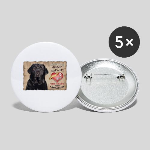 Schwarzer Labrador Retriever Liebe & Treue - Buttons klein 25 mm (5er Pack)