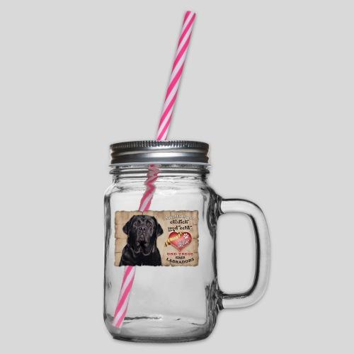Schwarzer Labrador Retriever Liebe & Treue - Henkelglas mit Schraubdeckel