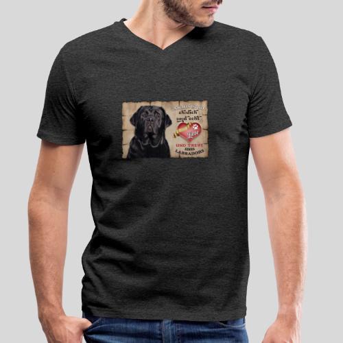 Schwarzer Labrador Retriever Liebe & Treue - Männer Bio-T-Shirt mit V-Ausschnitt von Stanley & Stella