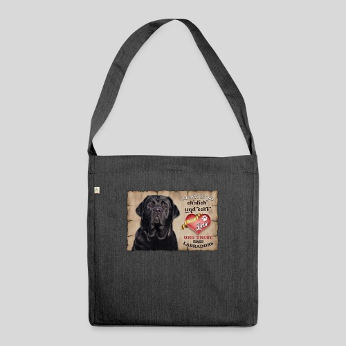 Schwarzer Labrador Retriever Liebe & Treue - Schultertasche aus Recycling-Material