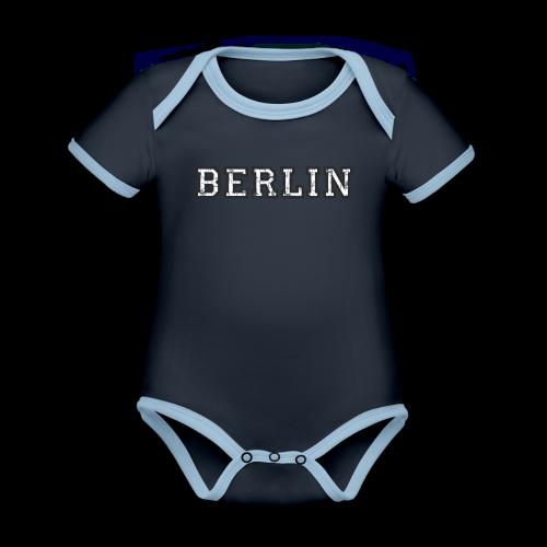 Berlin Vintage (Schwarz/Weiß) - Baby Bio-Kurzarm-Kontrastbody
