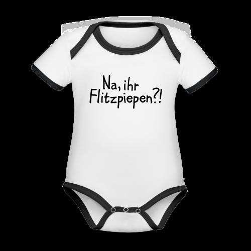 Na, ihr Flitzpiepen?! Witziger Berlin Spruch - Baby Bio-Kurzarm-Kontrastbody