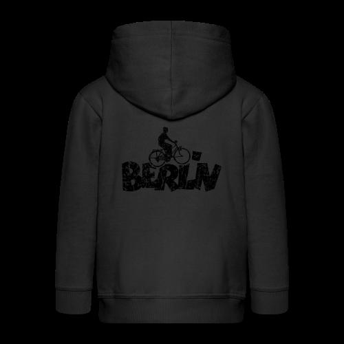 Berlin Fahrrad für Berliner Fahrradfahrer (Vintage Schwarz) - Kinder Premium Kapuzenjacke