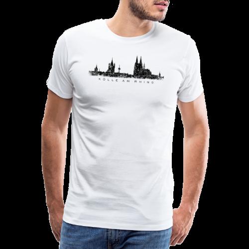 Kölle am Rhing Skyline (Vintage Schwarz) Köln am Rhein - Männer Premium T-Shirt