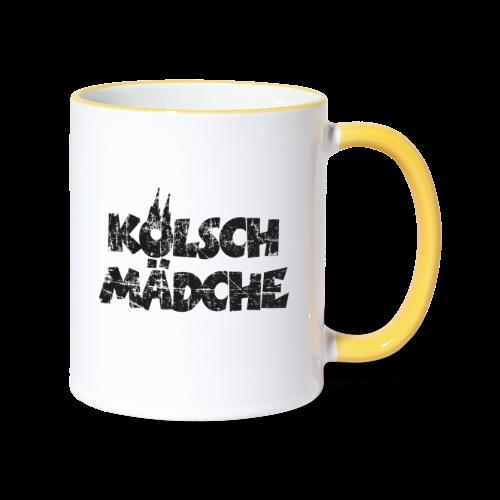 Kölsch Mädche (Vintage Schwarz) Mädchen und Frauen aus Köln - Tasse zweifarbig