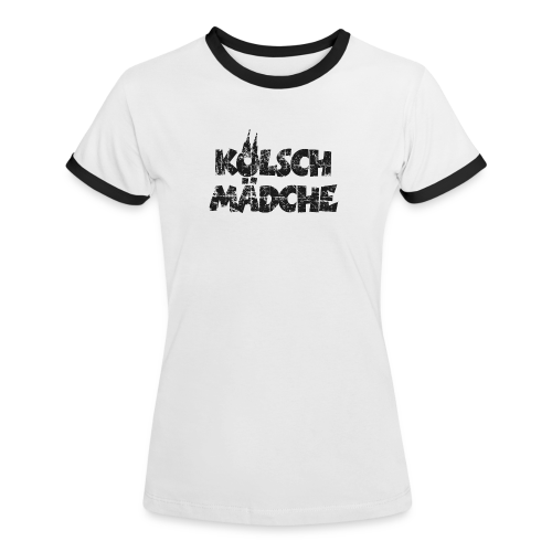 Kölsch Mädche (Vintage Schwarz) Mädchen und Frauen aus Köln - Frauen Kontrast-T-Shirt
