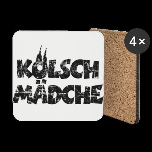 Kölsch Mädche (Vintage Schwarz) Mädchen und Frauen aus Köln - Untersetzer (4er-Set)