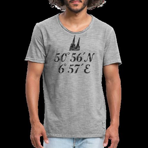 Kölner Dom Koordinaten (Vintage Schwarz) Köln - Männer Vintage T-Shirt