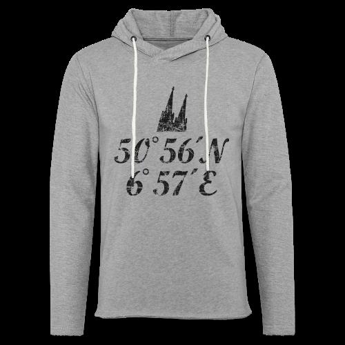 Kölner Dom Koordinaten (Vintage Schwarz) Köln - Leichtes Kapuzensweatshirt Unisex