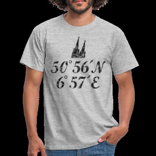 Kölner Dom Koordinaten (Vintage Schwarz) Köln - Männer T-Shirt